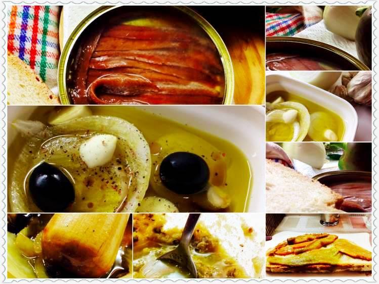 Tosta de anchoas en aceite, con majado y pimiento verde 2_Fotor