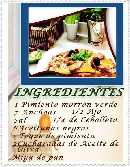 Tosta de anchoas en aceite de pimiento verde  ingredientes