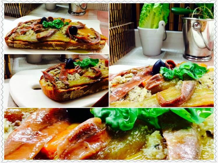 Tosta de anchoas en aceite y pimeto verde 1_Fotor