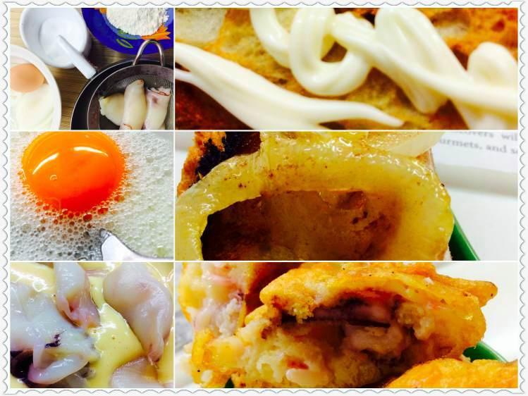 Tosta de calamares sobre cebolleta con salsa de mahonesa 2Collage_Fotor