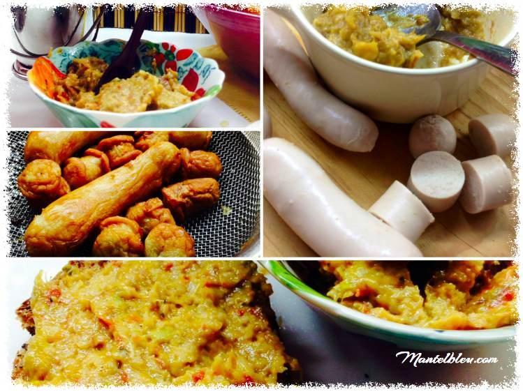 Tosta de salchichas blancas sobre crema de verduras y piñones 1_Fotor