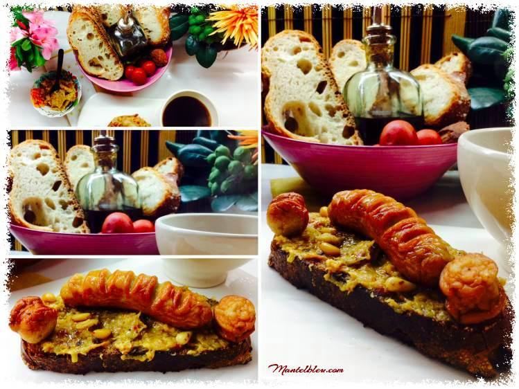 Tosta de salchichas blancas sobre crema de verduras y piñones 4_Fotor