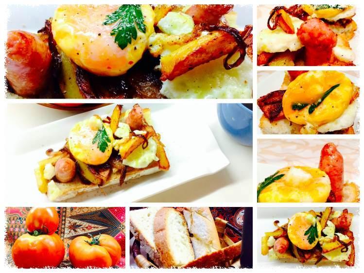 Tosta patatas encebolladas con salchicha y yema 3_Fotor