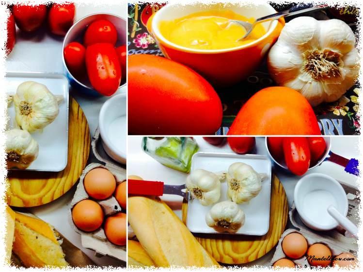 Tosta de salmorejo con picadito de ibérico y huevo .  Ingredientes _Fotor