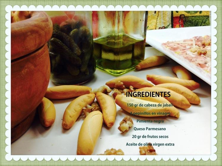 Carpaccio de cabeza de jabalí ibérica ingredientes