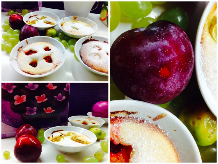 Clafoutis con uvas, higos y ciruelas collage 1