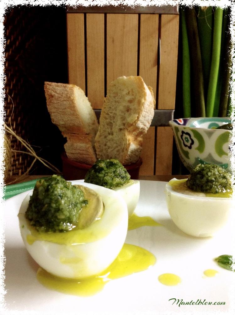 Huevos con salsa pesto 2