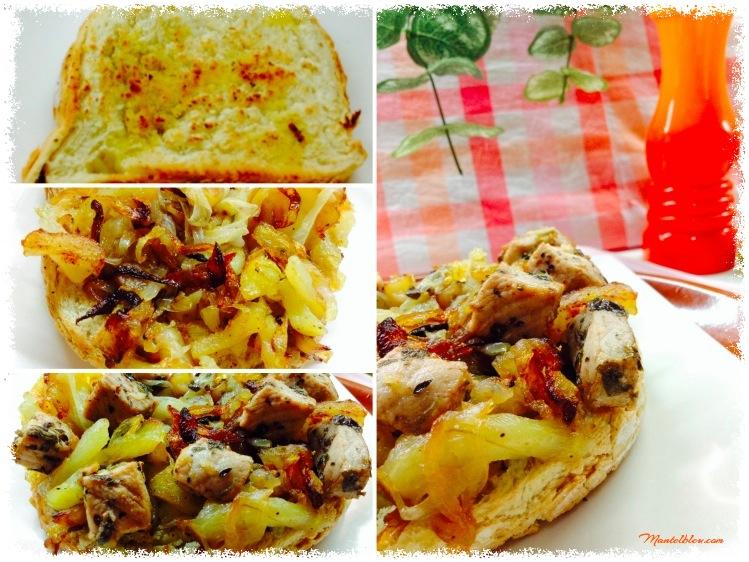 Tosta de patatas con cebolas y taquitos de lomo Elaboración_Fotor