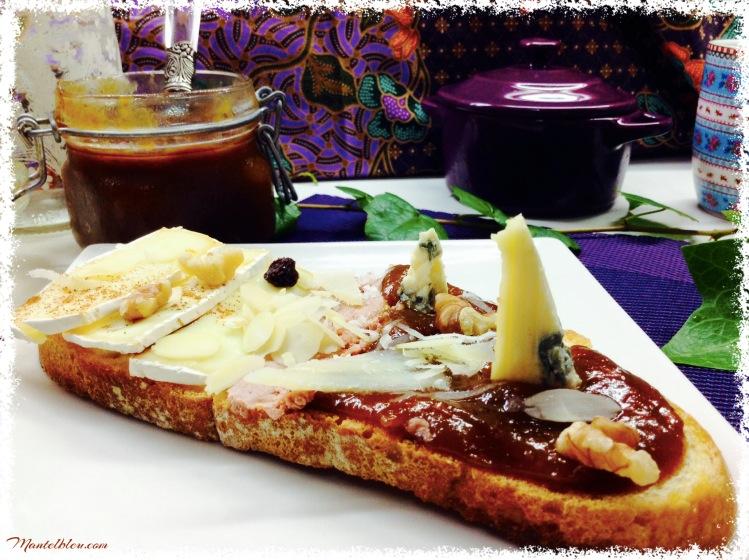 Tosta de mermelada de higos, queso y patés 3