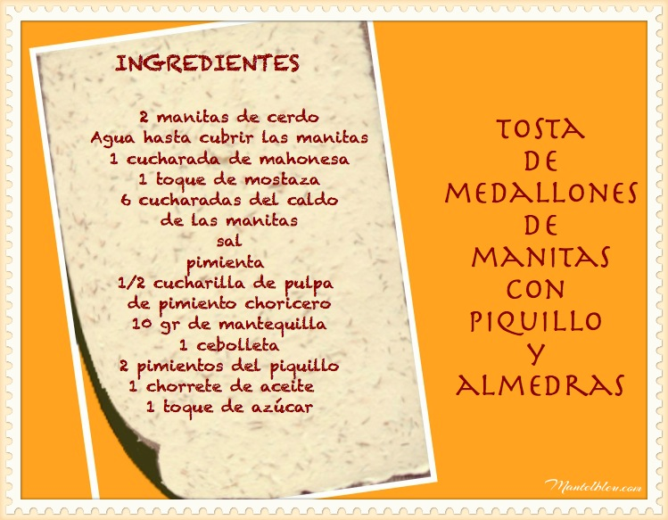 Tosta de manitas de cerdo con piquillo y almendras_ingredientesFotor