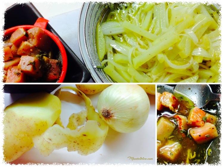 Tosta de patatas con cebolla y taquitos de lomo ingredientes_Fotor