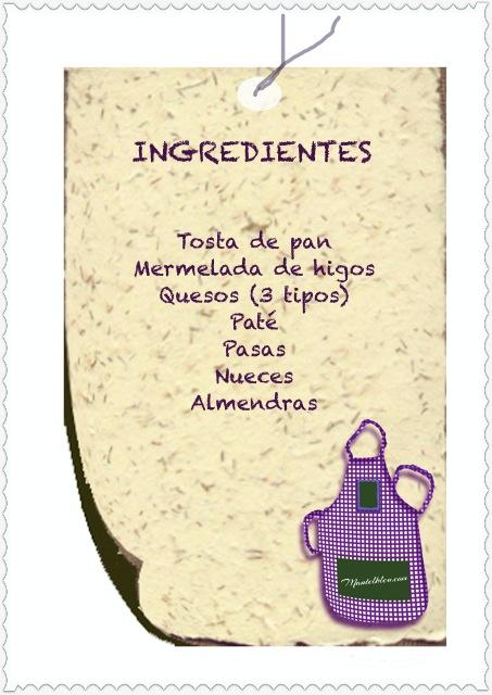 Tosta de mermelada de higos, quesos y paté etiqueta