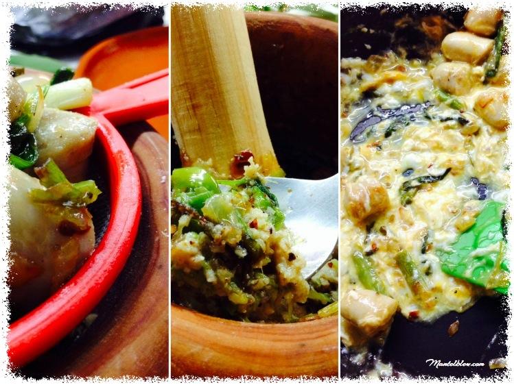 Tosta de revuelto de ajos tiernos y salchichas blancas elaboración 2_Fotor