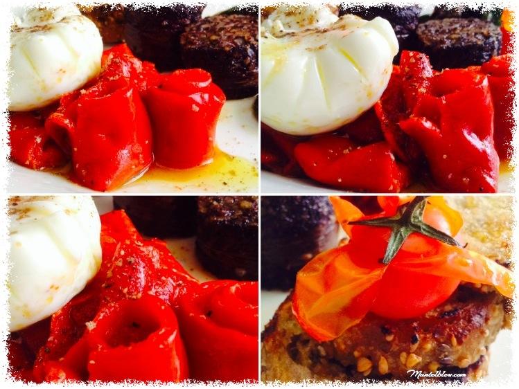 Morcilla de Muskiz con pimientos rojos y huevo poché_Fotor