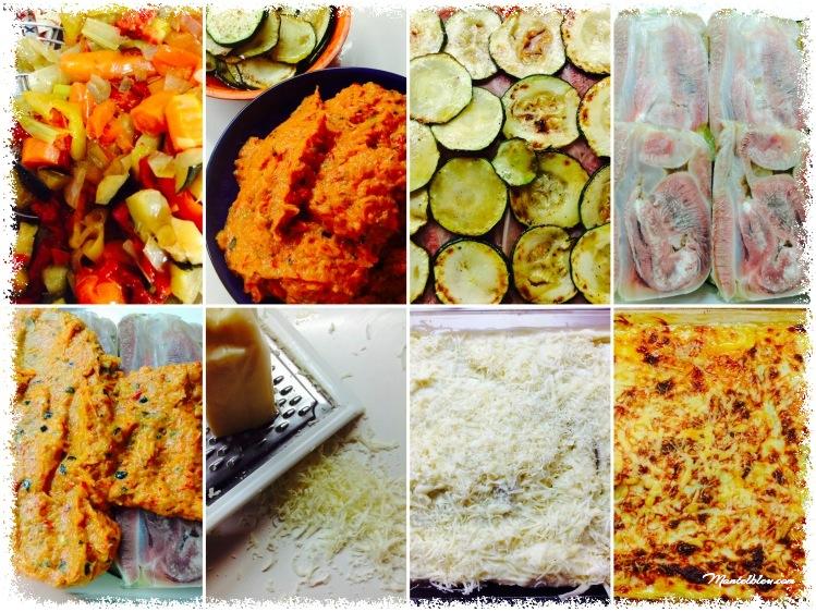 Lasaña de calabacín con morro y verduras elaboración_Fotor