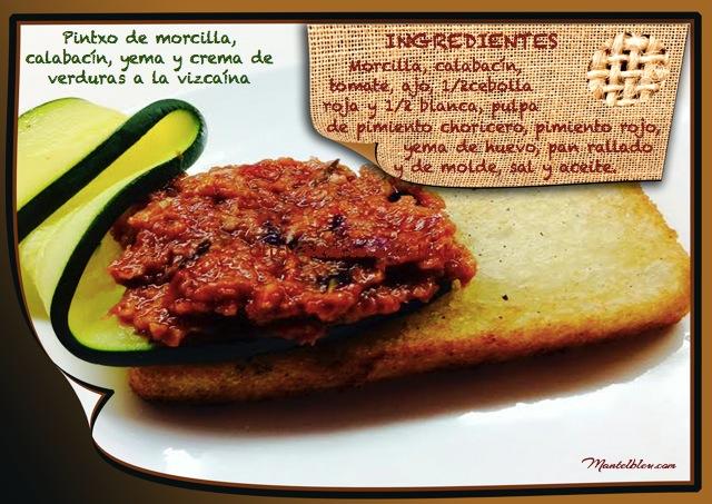 Pintxo de morcilla, calabacín, yema y crema de verduras a la vizcaina etiqueta