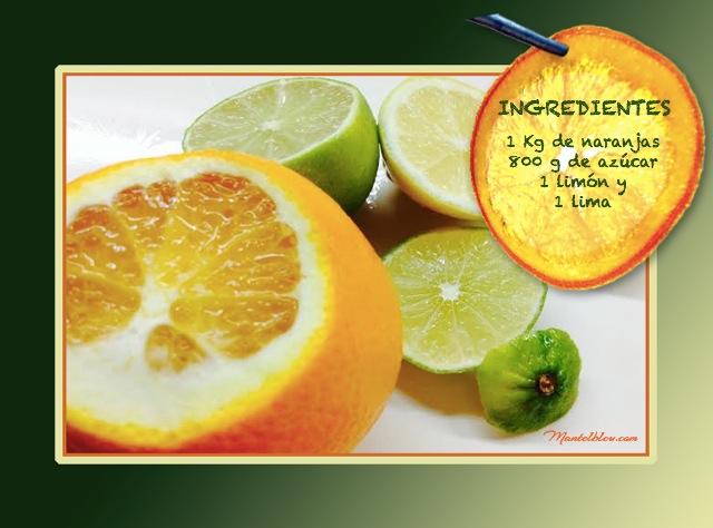 Mermelada de Naranja.  Caprichos de chocolate y naranja ingredientes