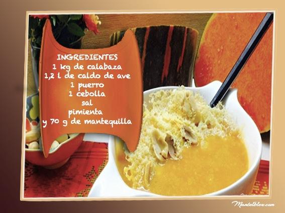 Sopa de calabaza con crujiente de queso y cacahuetes ingredientes