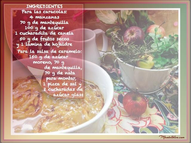 Tarta de caracolas con manzana y salsa de caramelo Ingredientes etiqueta