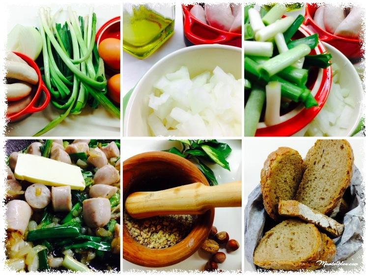 Tosta de revuelto de ajos tiernos y salchichas blancas ingredientes_Fotor