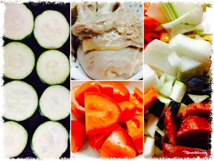 Lasaña de calabacín con morro y verduras Ingredientes_Fotor
