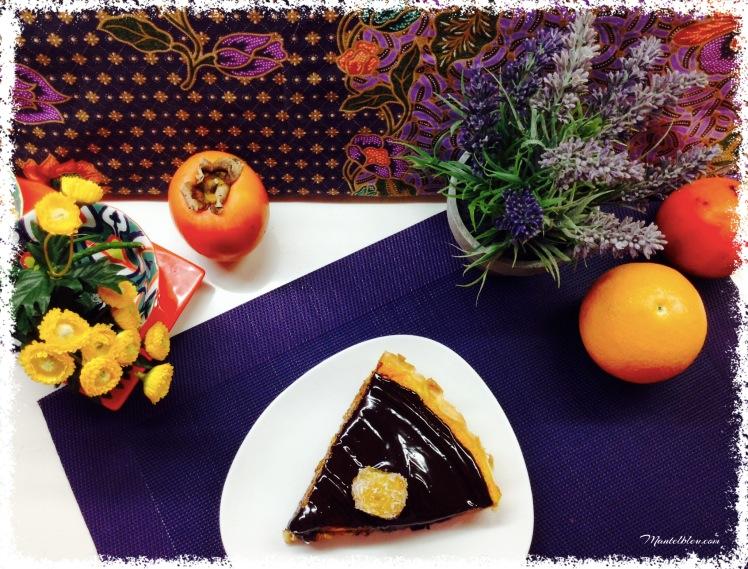 Tarta de calabaza con chocolate y naranja porción