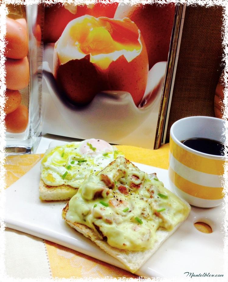 Tosta de huevo con bechamel de bacón y cebolla 1