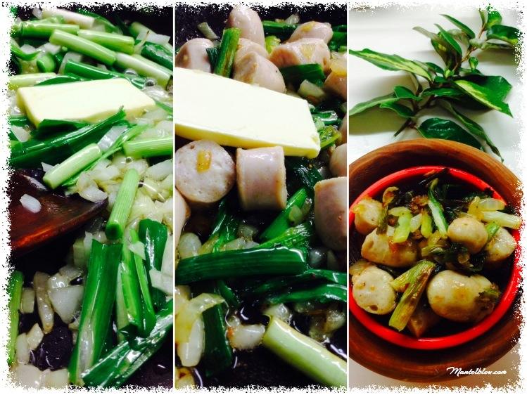 Tosta de revuelto de ajos tiernos y salchichas blancas elaboración 1_Fotor