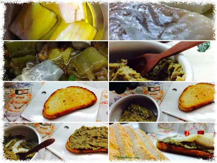Tosta de bacalao confitado con crema de pimientos verde  Elaboración_Fotor