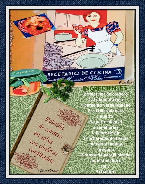 Paletilla de cordero en salsa con chalotas confitadas Ingredientes etiqueta