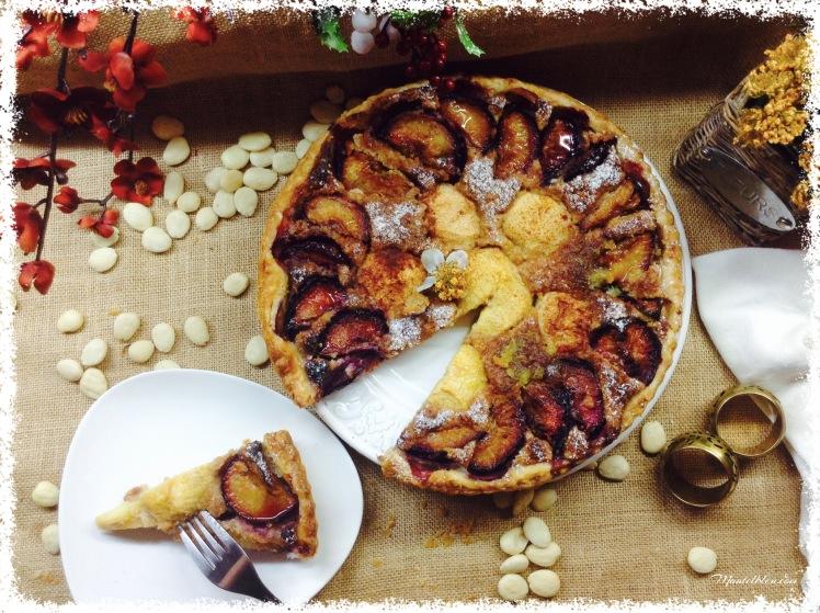 Tarta de almendras con ciruelas y manzana 1
