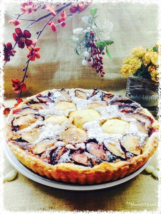 Tarta de almendras con ciruelas y manzanas 2