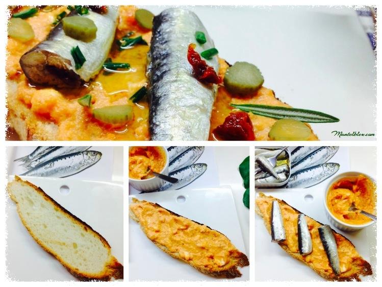 Tosta de sardinillas con crema de gazpacho Elaboración_Fotor