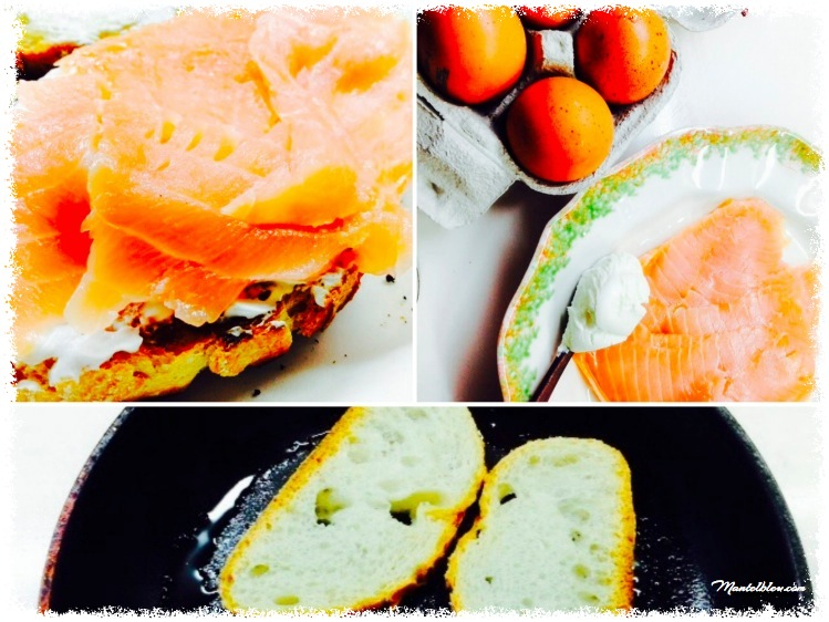 Tosta de salmón con huevo noruego.  IngredientesFotor