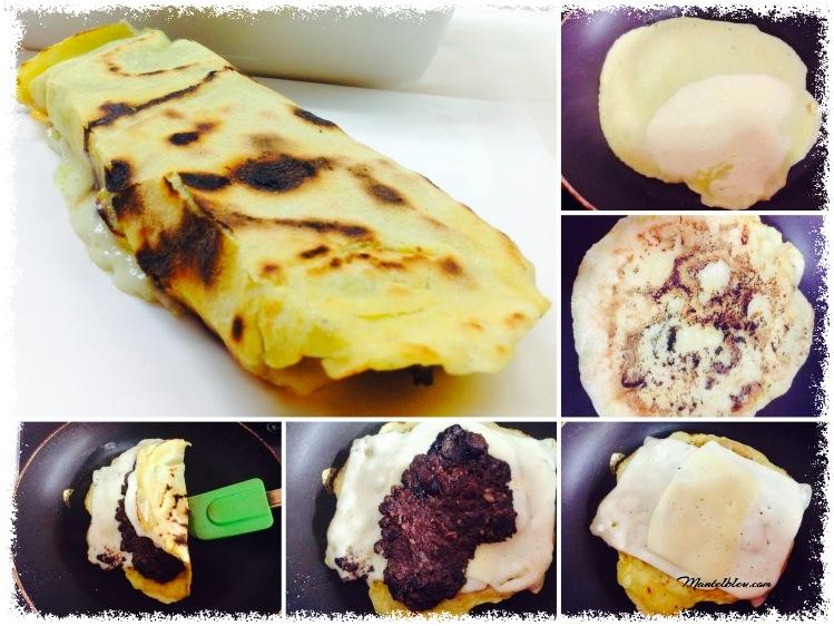 Tortita de maiz con morcilla  queso fundido elaboración_Fotor