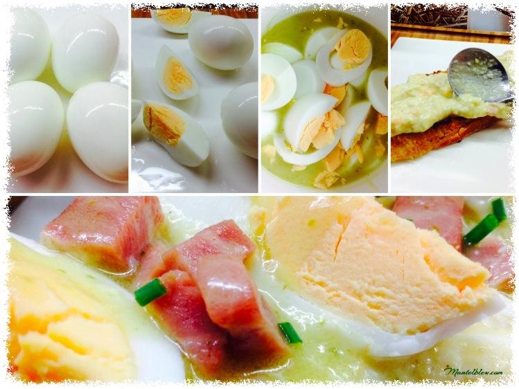 Tosta de huevos en salsa verde con taquitos de pavo. Elaboración