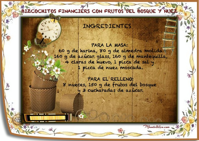 Bizcochitos financiers con frutos del bosqu y nuez  Etiqueta Ingredientes
