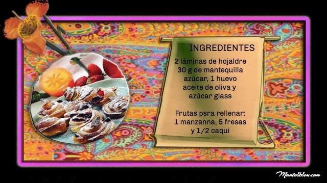 Pastelitos de flores de hojaldre con frutas Etiqueta Ingredientes