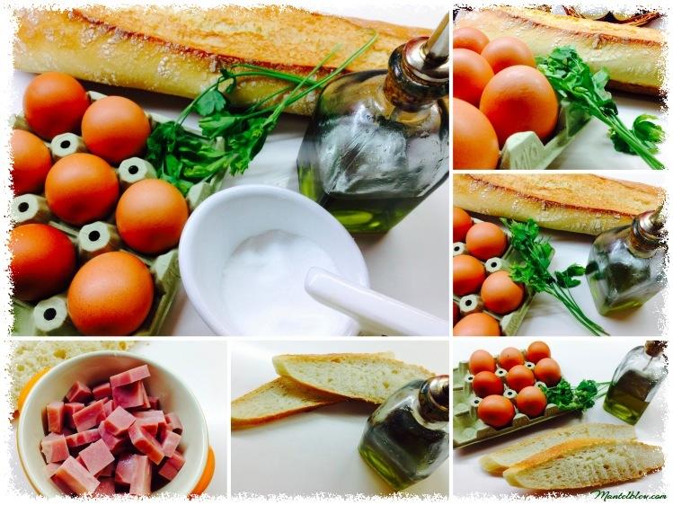 Tosta con huevos en salsa verde y taquitos de pavo Ingredientes_Fotor