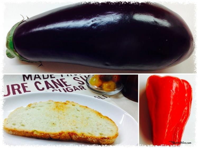 Tosta de berenjena, pimiento, quesos y almendras Ingredientes_Fotor