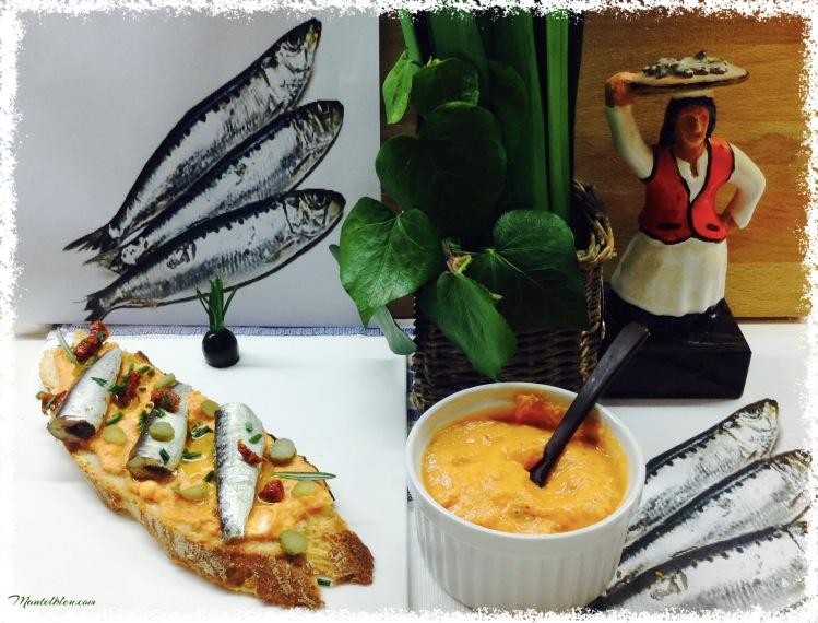 Tosta de sardinillas con crema de gazpacho 1