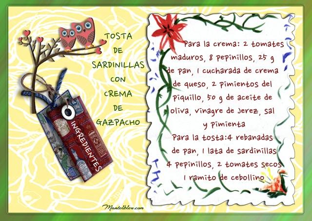 Tosta de sardinillas con crema de gazpacho Etiqueta ingredientes