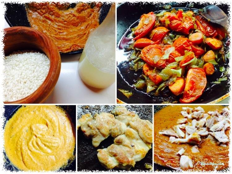 Arroz con salsa de verduras y pollo Elaboración_Fotor