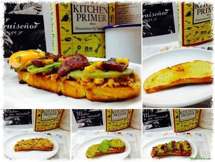 Tosta de crema de maíz con bacón, yema y tomate verde frito Ingredientes_Fotor