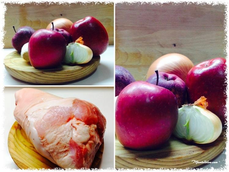 Codillo asado con puré de manzanas y cebollas Ingredientes_Fotor