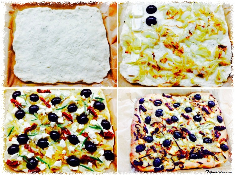 Focaccia con queso feta y aceitunas negras elaboración_Fotor