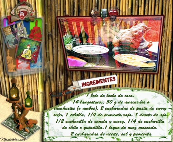 Sopa de leche de coco con langostinos y aanacardos etiqueta