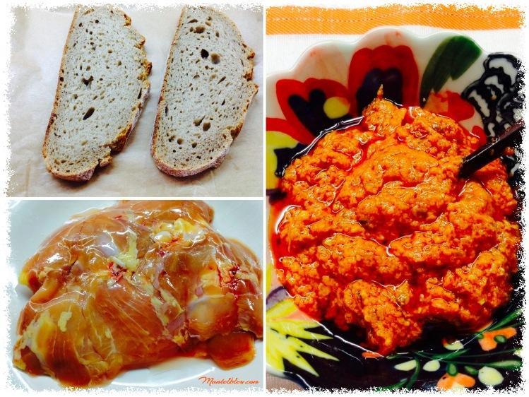 Tosta de pollo sobre salsa de pesto rojo Ingredientes