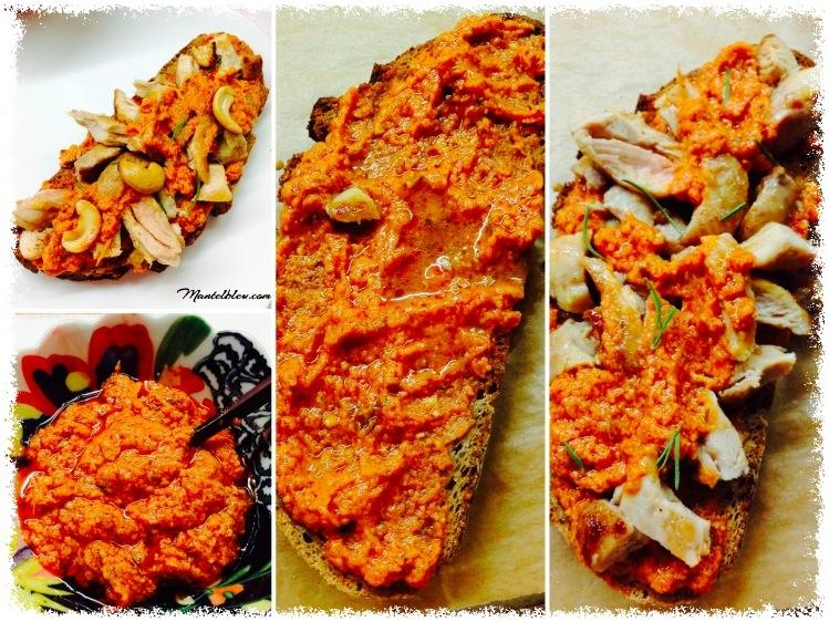 Tosta de pollo sobre salsa de pesto rojo Elaboración_Fotor