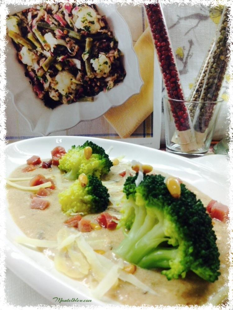 Brócoli con bechamel con queso y piñones 2
